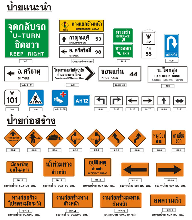 Traffic sign ป้ายแนะนำ