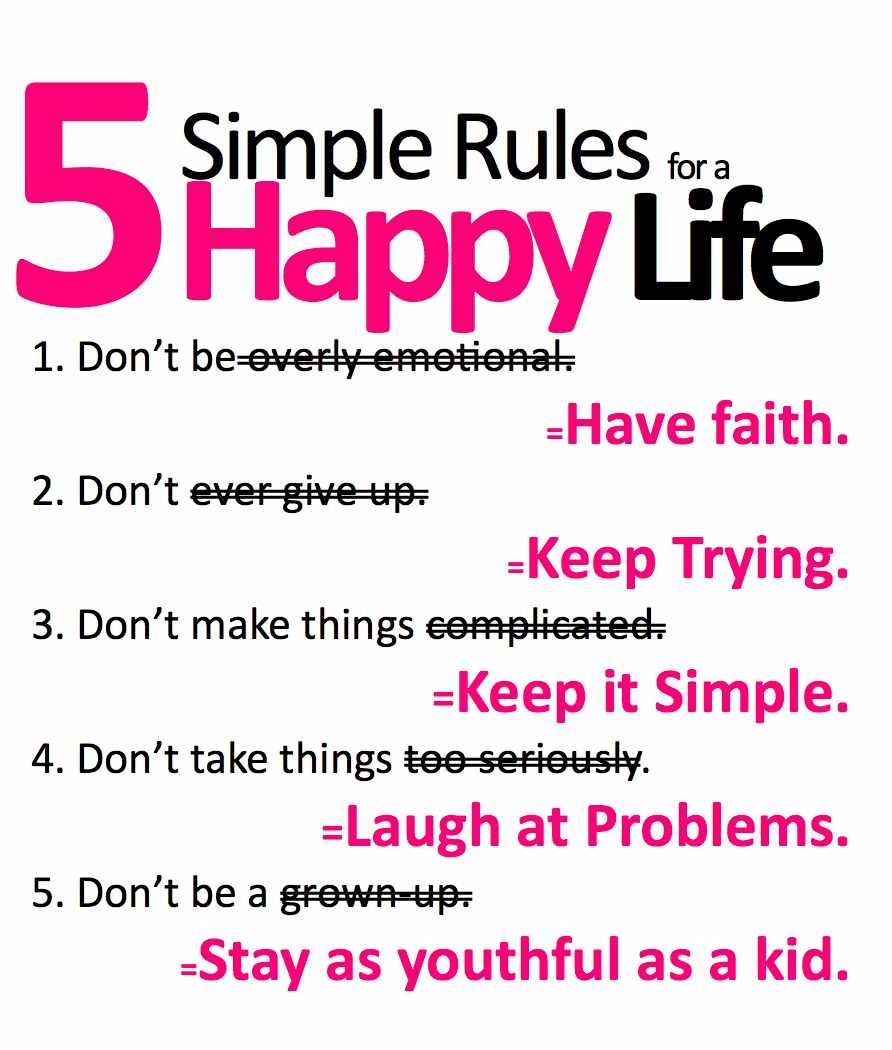 five-simple-ru5 simple rules for a happy life
