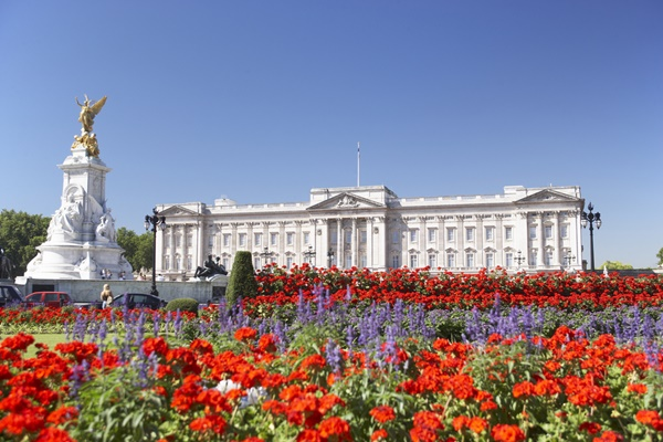Buckingham Palace With Flowers Blooming In The Queen's Garden, L