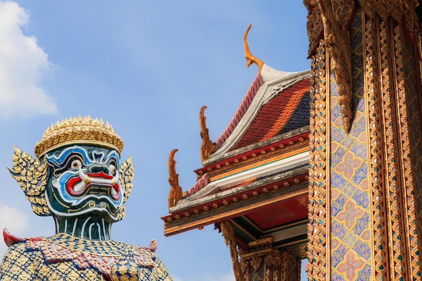 Roof at Wat Rajabopit or Rachabophit Royal Tombs and temple in bangkok Thailand