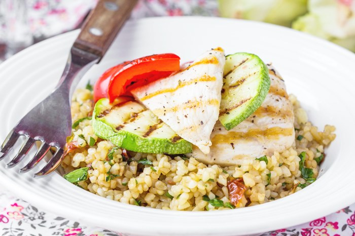 Bulgur with vegetables and grilled chicken, healthy, diet tasty summer dish
