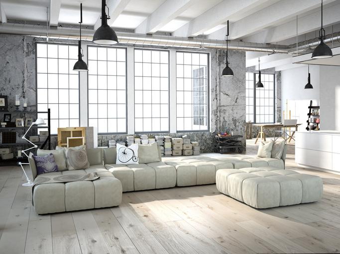 3D rendering of living room in a loft