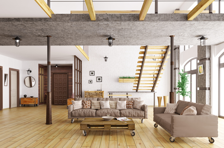 Interior of living room and hall with staircase and sofas 3d rendering. All images, photos, pictures used in this interior are my own works, all rights belong to me.