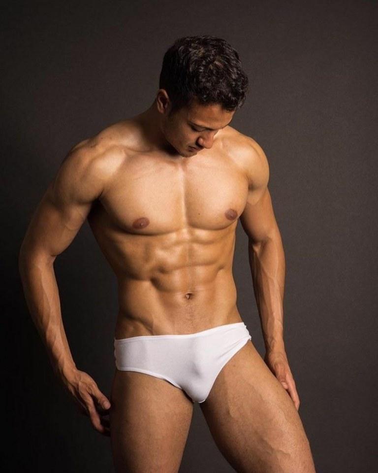 Wet look vinyl leather sexy gay men underwear
